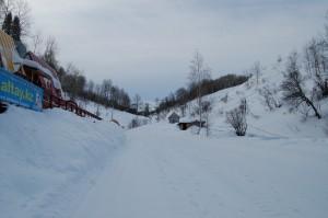 Вид с территории базы на конец основной трассы.